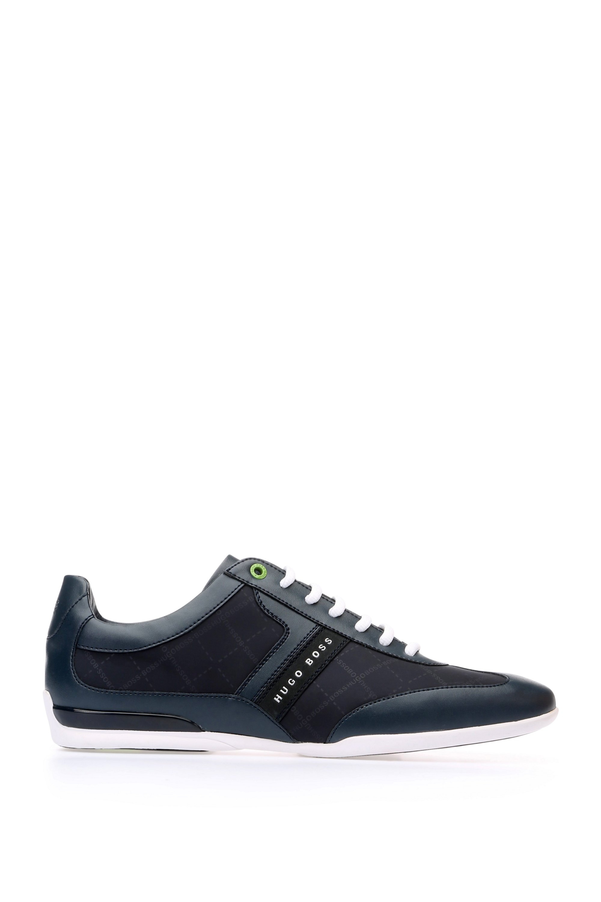 Sneakers low-top stampate con sezioni in pelle, Blu scuro