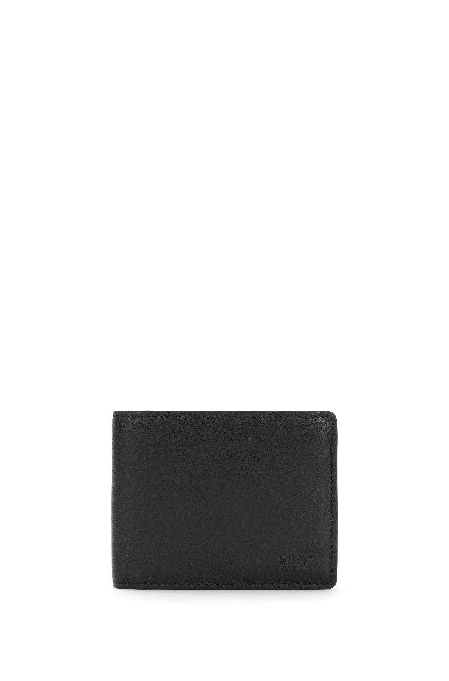 Portefeuille à deux volets en cuir lisse, Noir