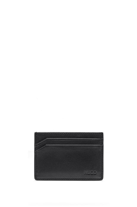 Kartenetui aus Glattleder mit vierFächern, Schwarz