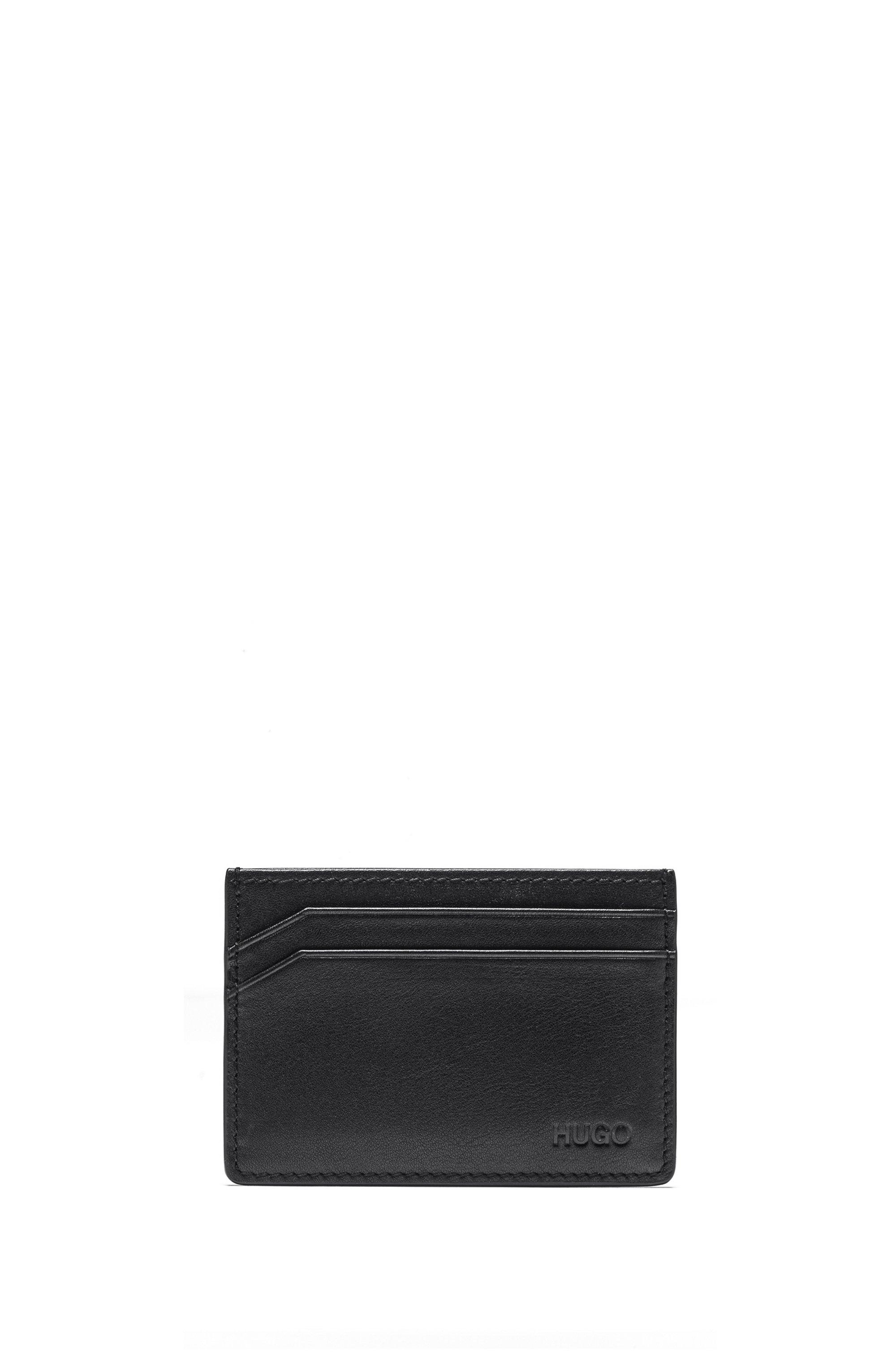 Porte-cartes en cuir lisse à quatre fentes, Noir