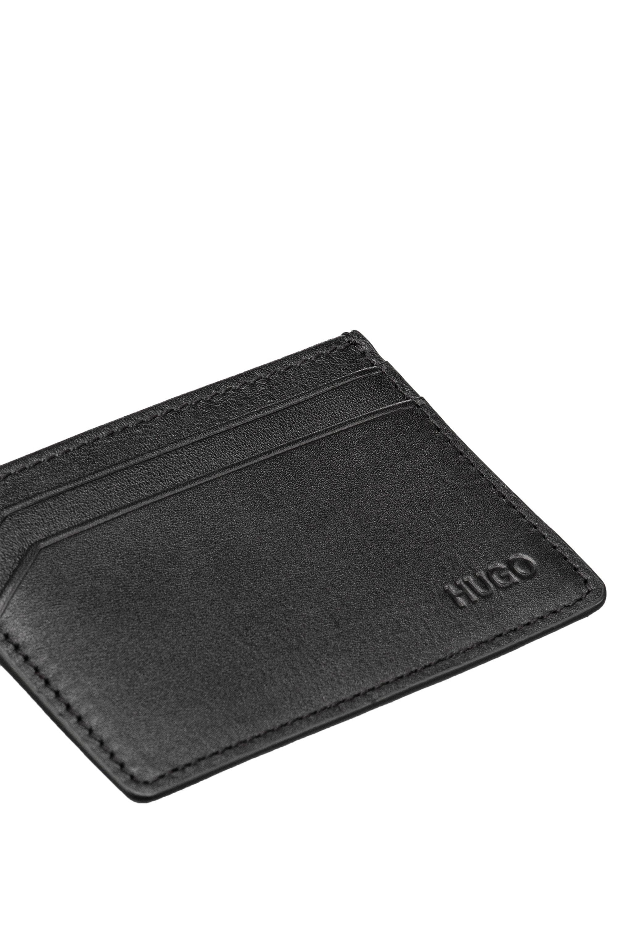 Porte-cartes en cuir lisse à quatre fentes