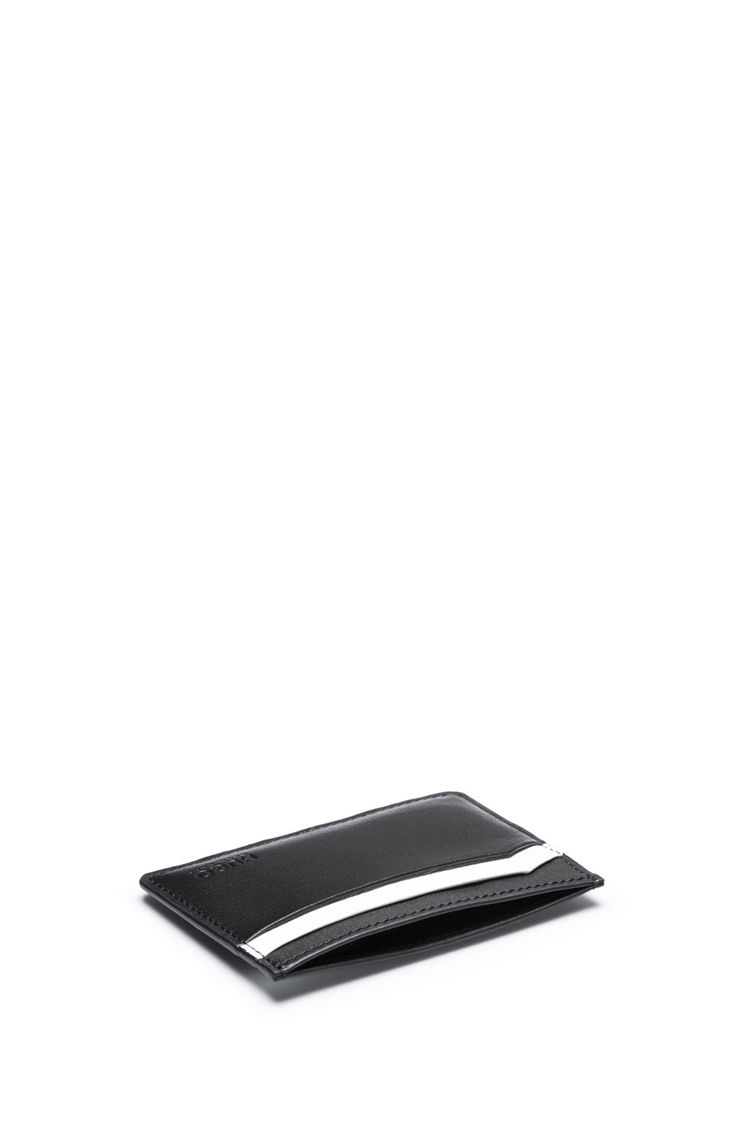 Kartenetui aus Glattleder mit vier Fächern, Schwarz
