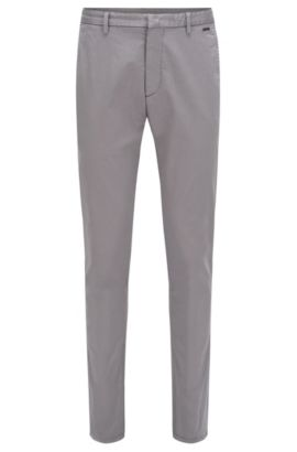 Chino Tapered Fit en coton extensible : « Helgo1-D », Gris chiné