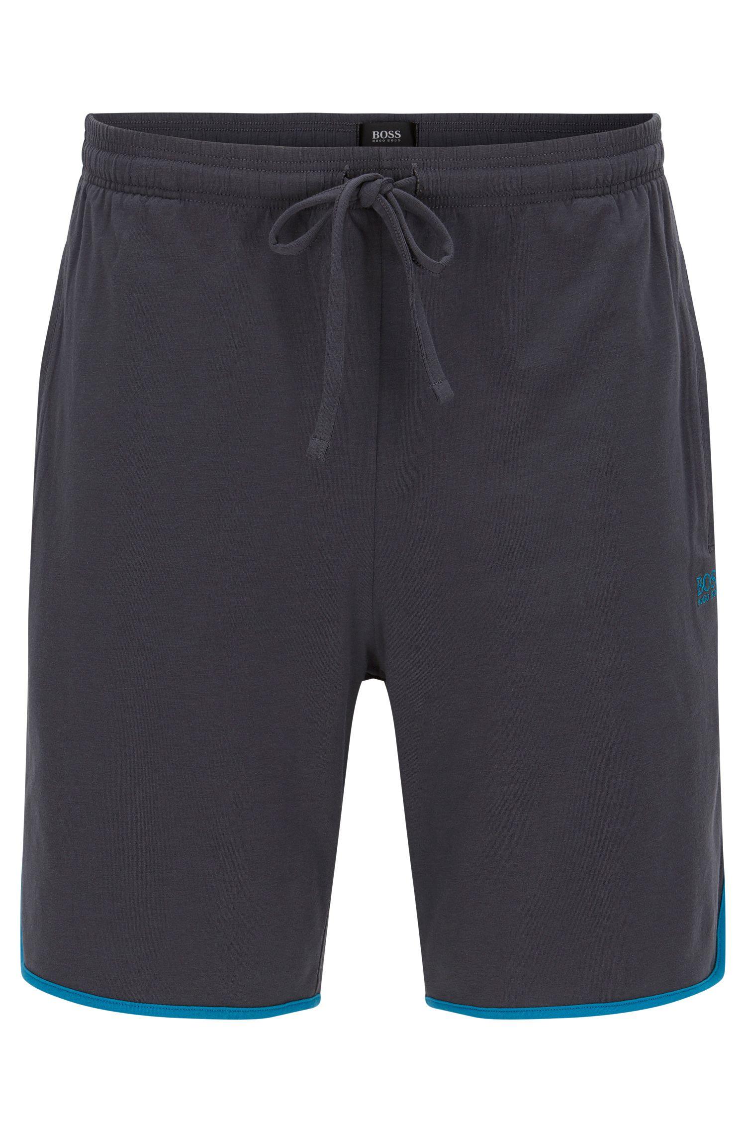 Kurze Pyjama-Hose aus Stretch-Baumwolle mit Kontrast-Paspeln