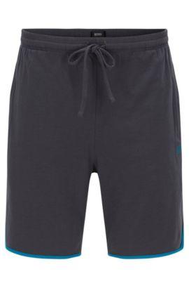 Kurze Pyjama-Hose aus Stretch-Baumwolle mit Kontrast-Paspeln, Dunkelgrau