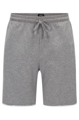 Kurze Pyjama-Hose aus Stretch-Baumwolle mit Kontrast-Paspeln, Grau