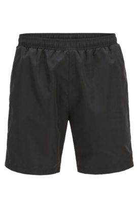 Swim shorts in quick-drying technical fabric, Black