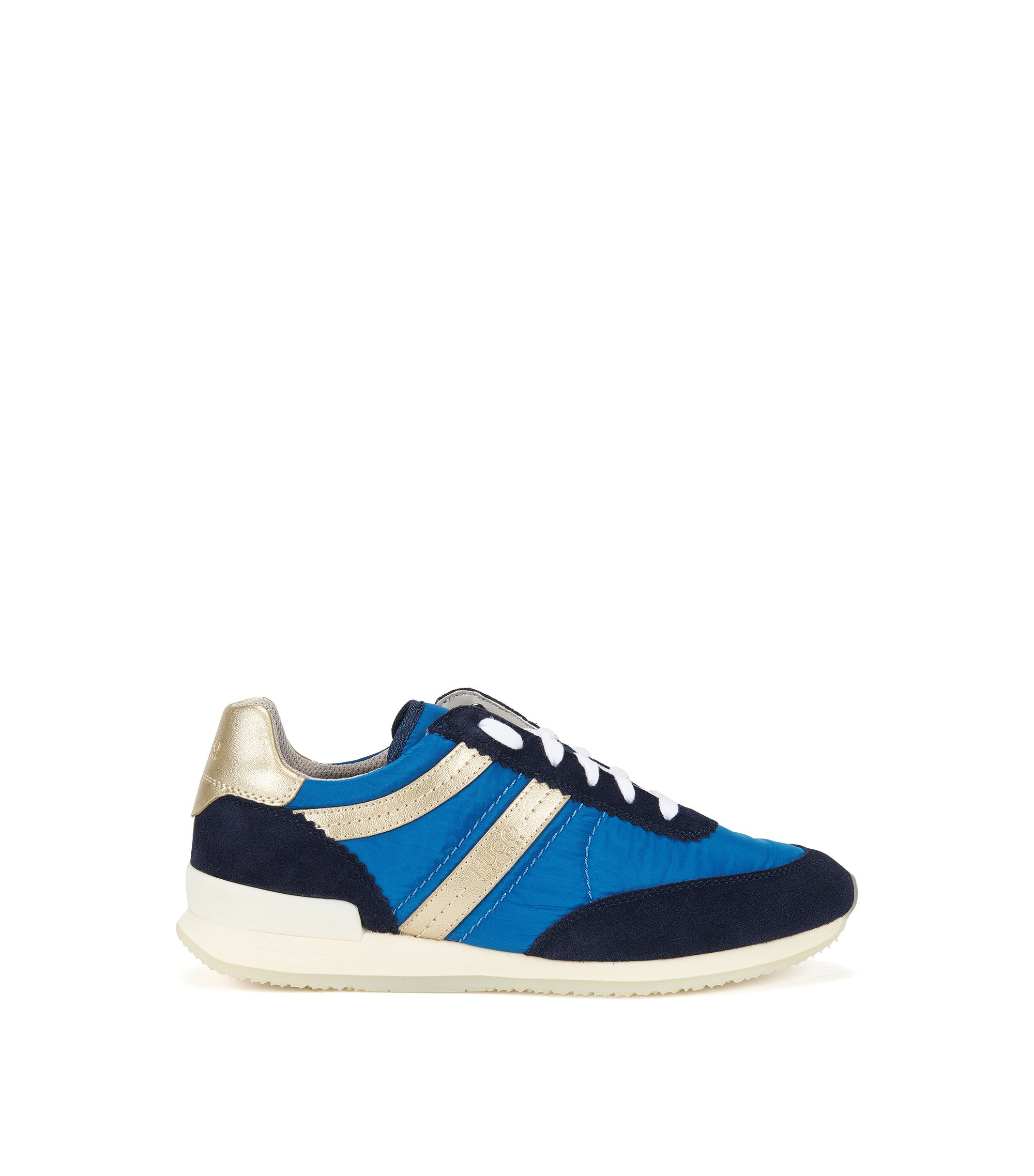 Lace-up trainers in Italian leather, Dark Blue