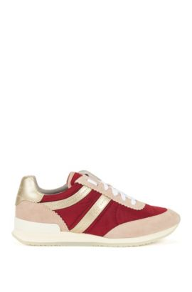 Lace-up trainers in Italian leather, Dark Red