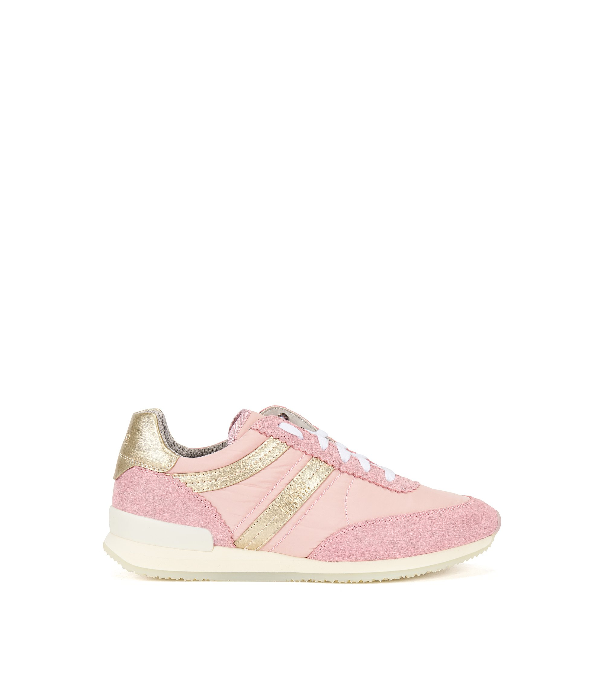 Lace-up trainers in Italian leather, light pink