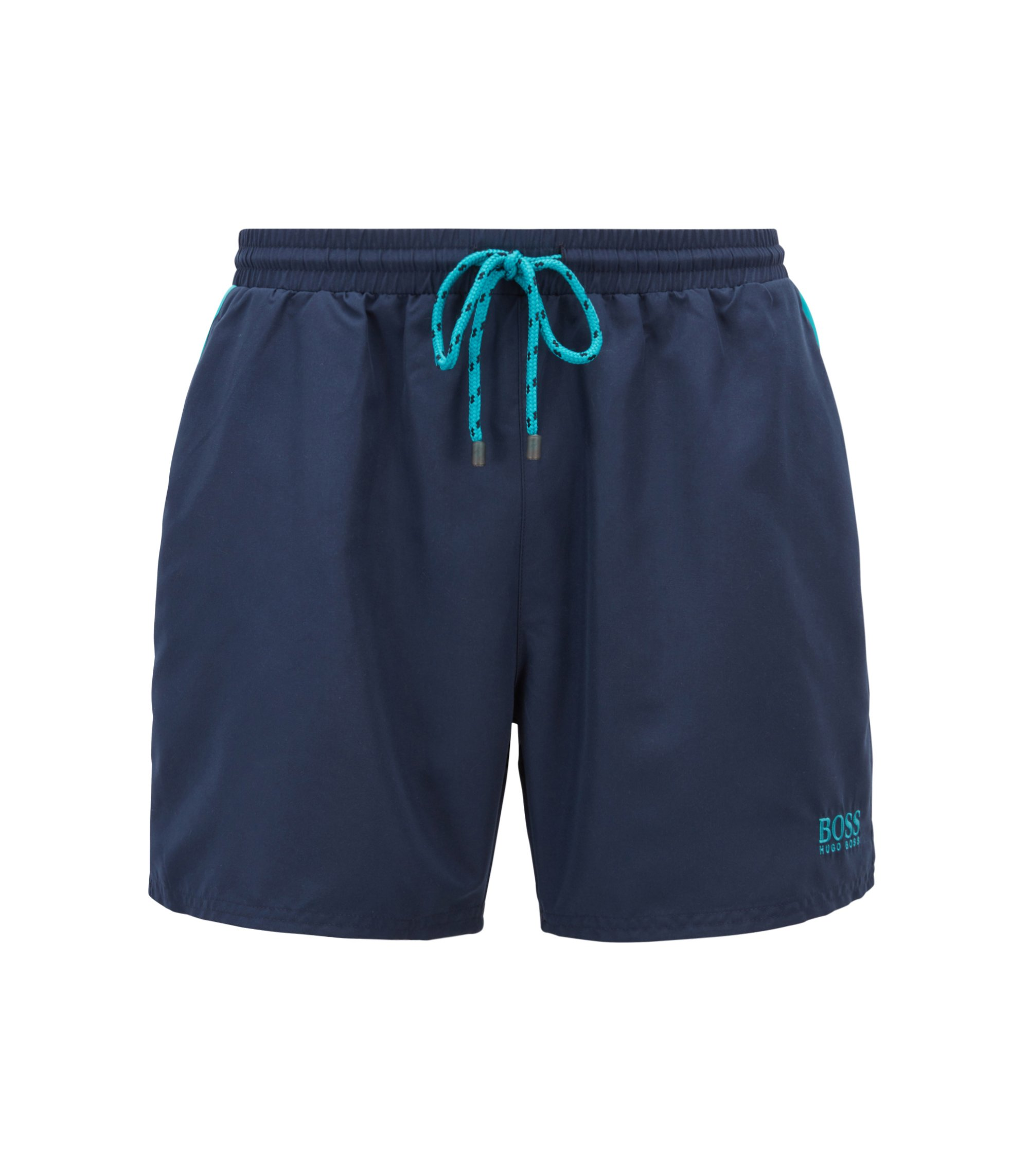 Quick-dry swim shorts with embroidered detailing, Dark Blue