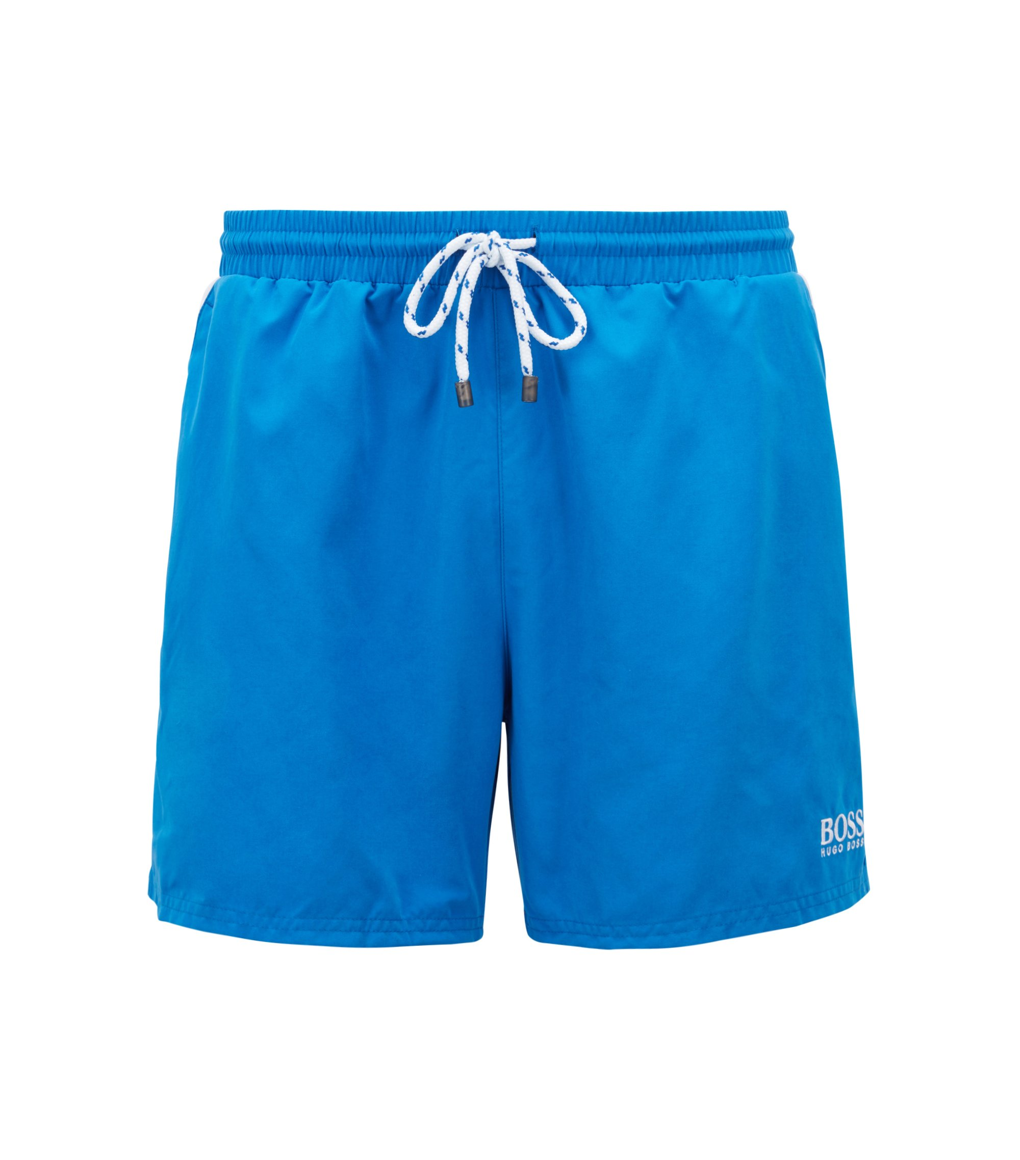 Quick-dry swim shorts with embroidered detailing, Blue