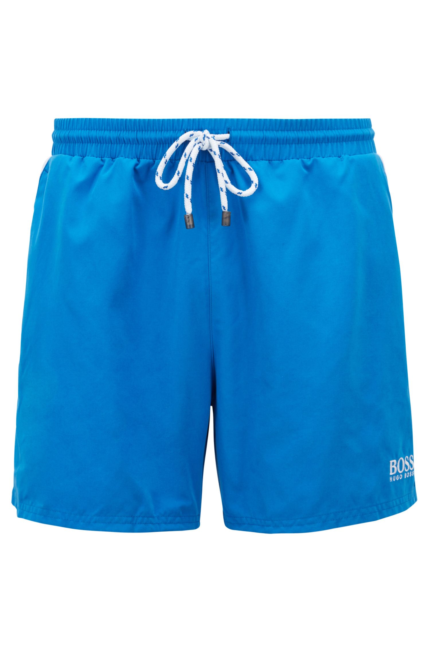 Quick-dry swim shorts with embroidered detailing