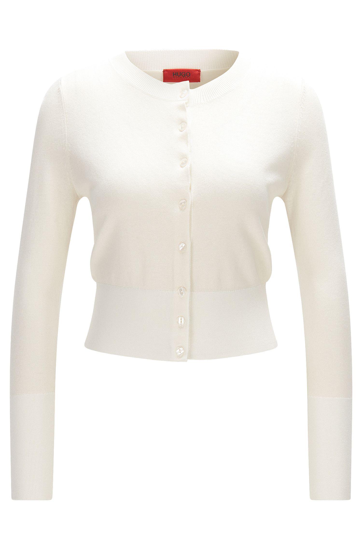 Short cardigan in a silk-cotton blend