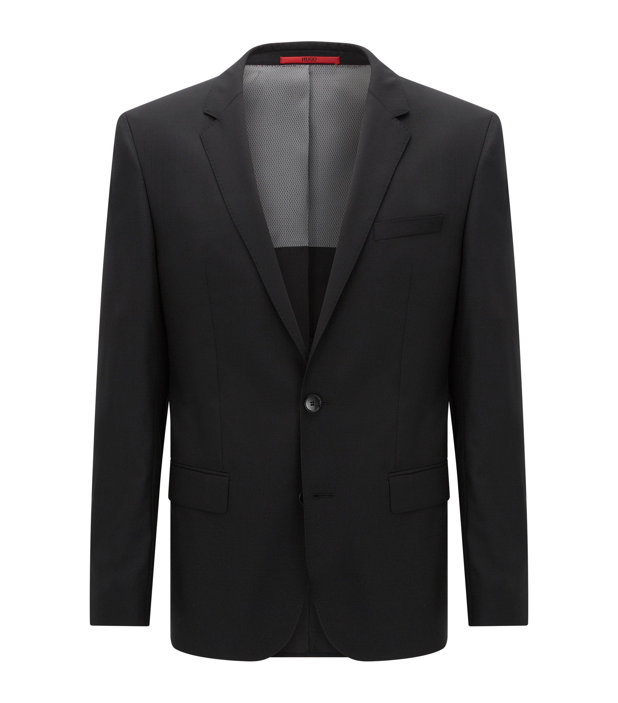 Veste de costume Slim Fit, en laine vierge stretch, Noir