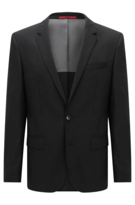 Veste de costume Slim Fit, en laine vierge stretch, Noir