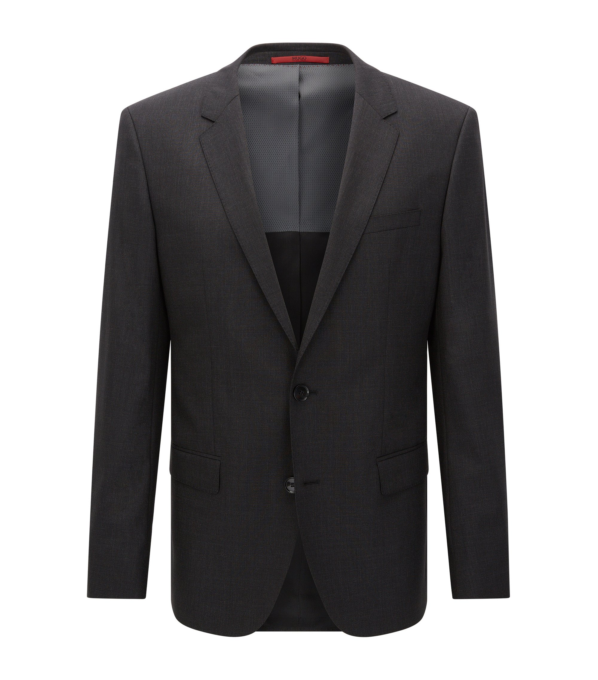 Slim-fit suit jacket in stretch virgin wool , Dark Grey