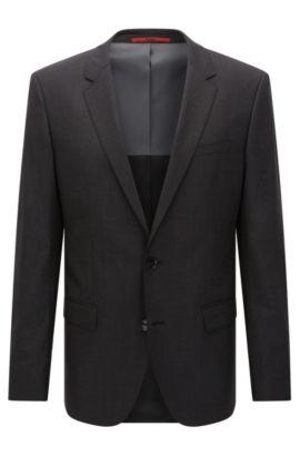 Slim-fit suit jacket in stretch virgin wool , Dark Grey