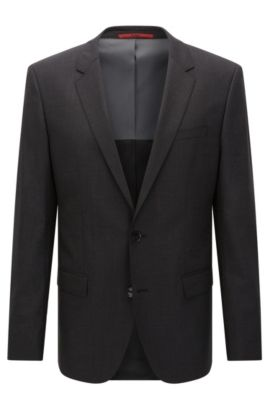 Giacca slim fit in lana vergine elasticizzata , Grigio scuro