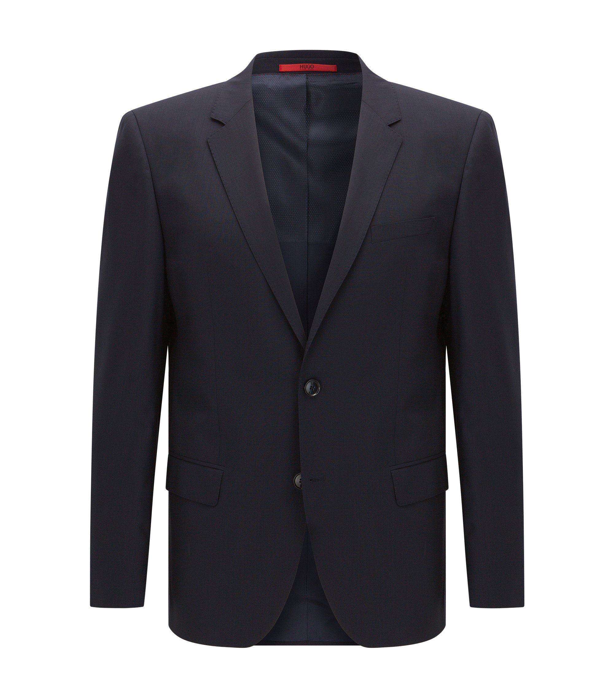 Slim-fit suit jacket in stretch virgin wool , Dark Blue