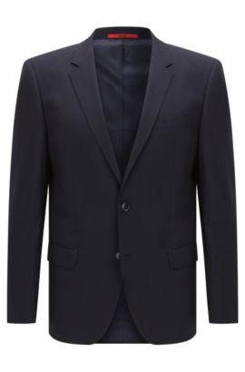 Americana slim fit en lana virgen elástica, Azul oscuro