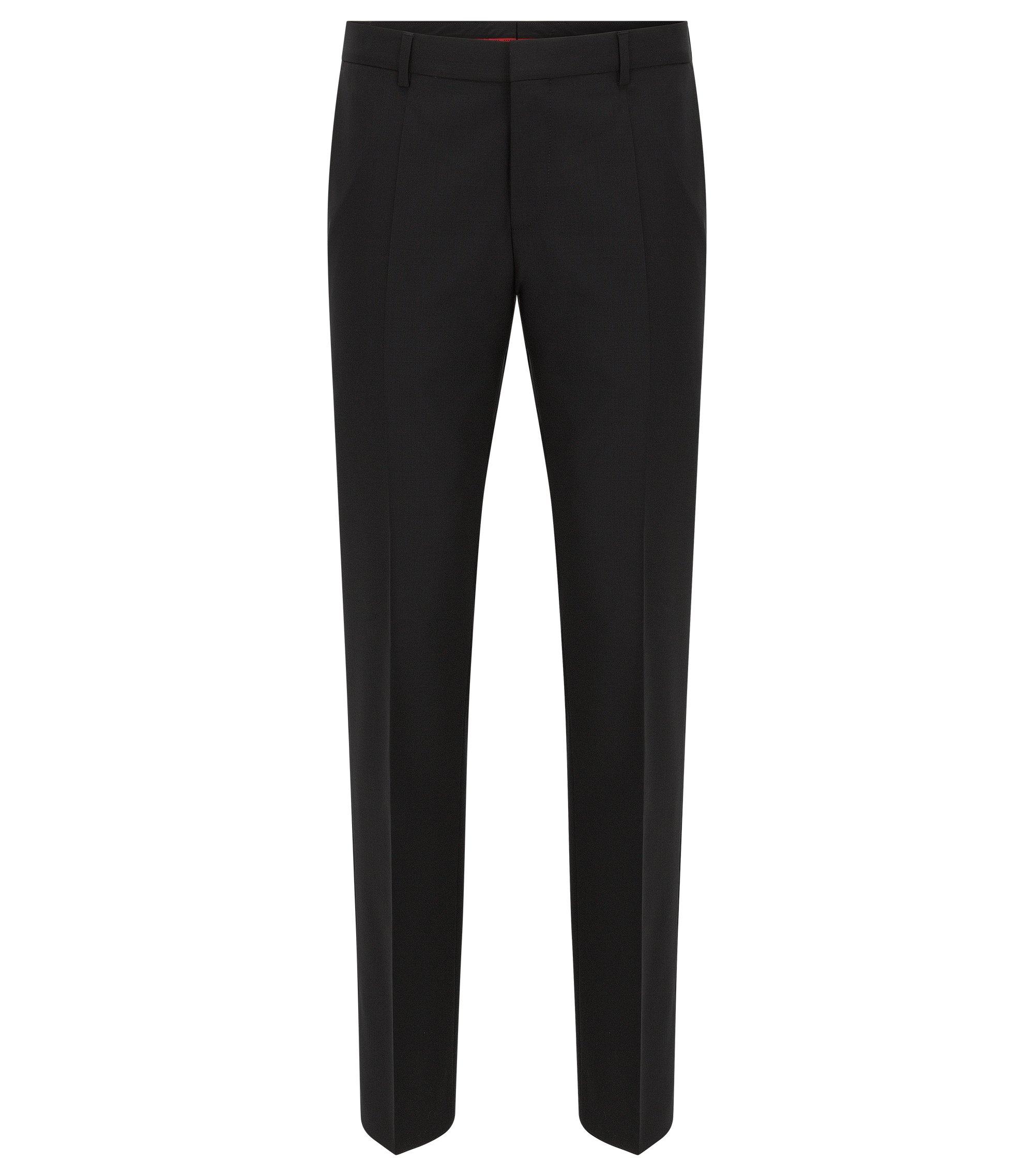Pantalon à jambes Slim, en laine vierge stretch, Noir