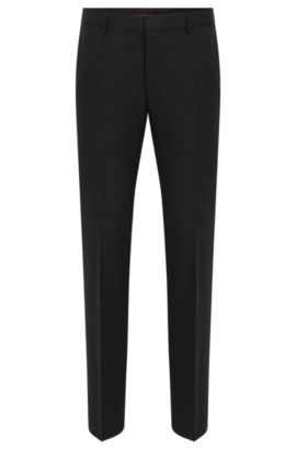 Slim-leg trousers in stretch virgin wool , Black