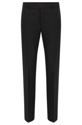 Slim-Fit Hose aus Stretch-Schurwolle , Schwarz