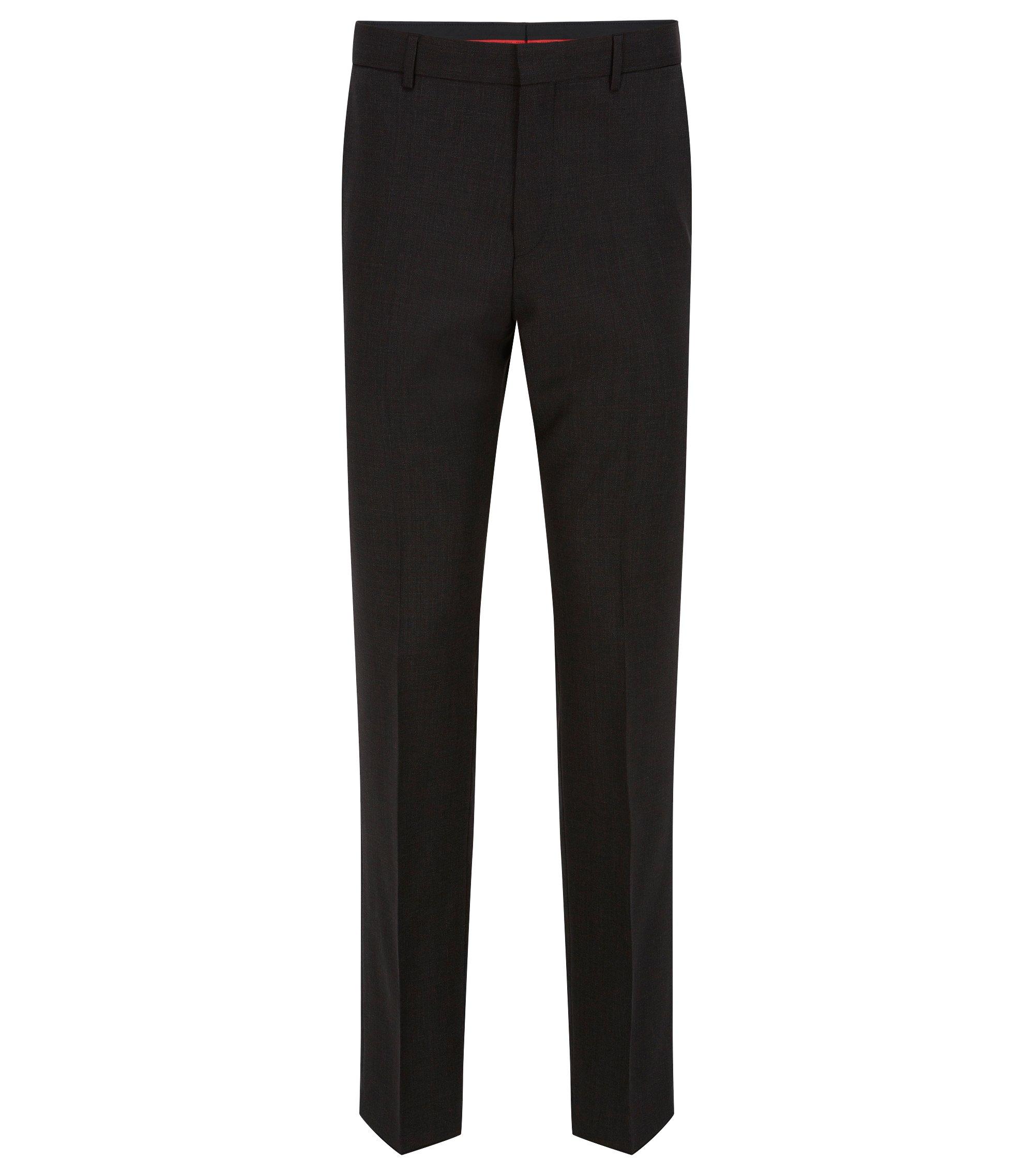 Pantalon à jambes Slim, en laine vierge stretch, Gris sombre
