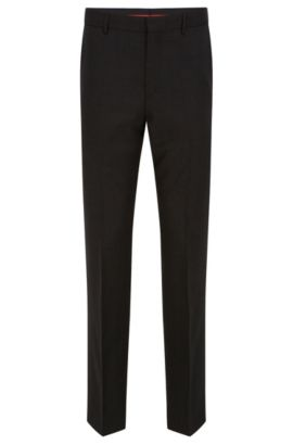 Slim-leg trousers in stretch virgin wool , Dark Grey