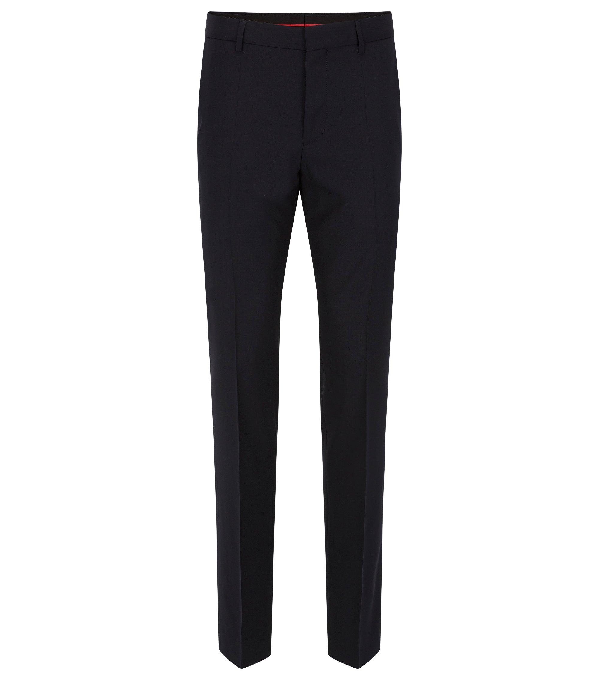 Pantaloni a gamba aderente in lana vergine elasticizzata , Blu scuro