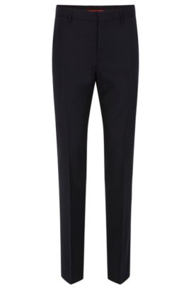 Slim-leg trousers in stretch virgin wool , Dark Blue