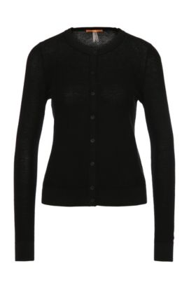 Textured knitted cardigan in cotton blend: 'Issy', Black