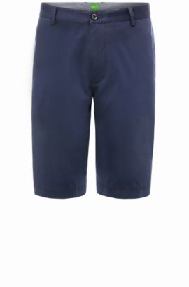 Short chino Regular Fit en coton stretch : « B-Claydon-W », Bleu foncé