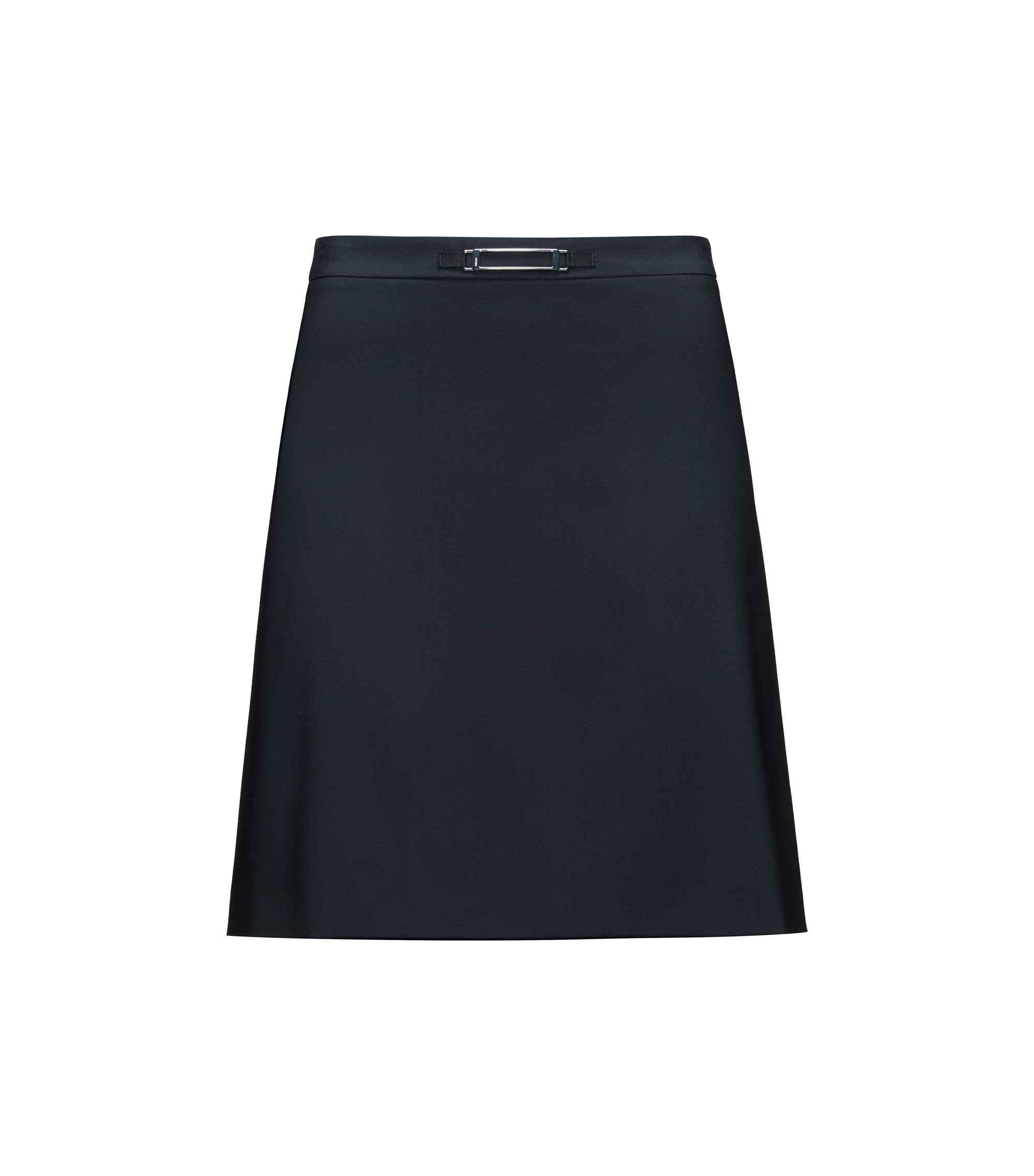 A-line skirt in stretch wool with hardware, Dark Blue