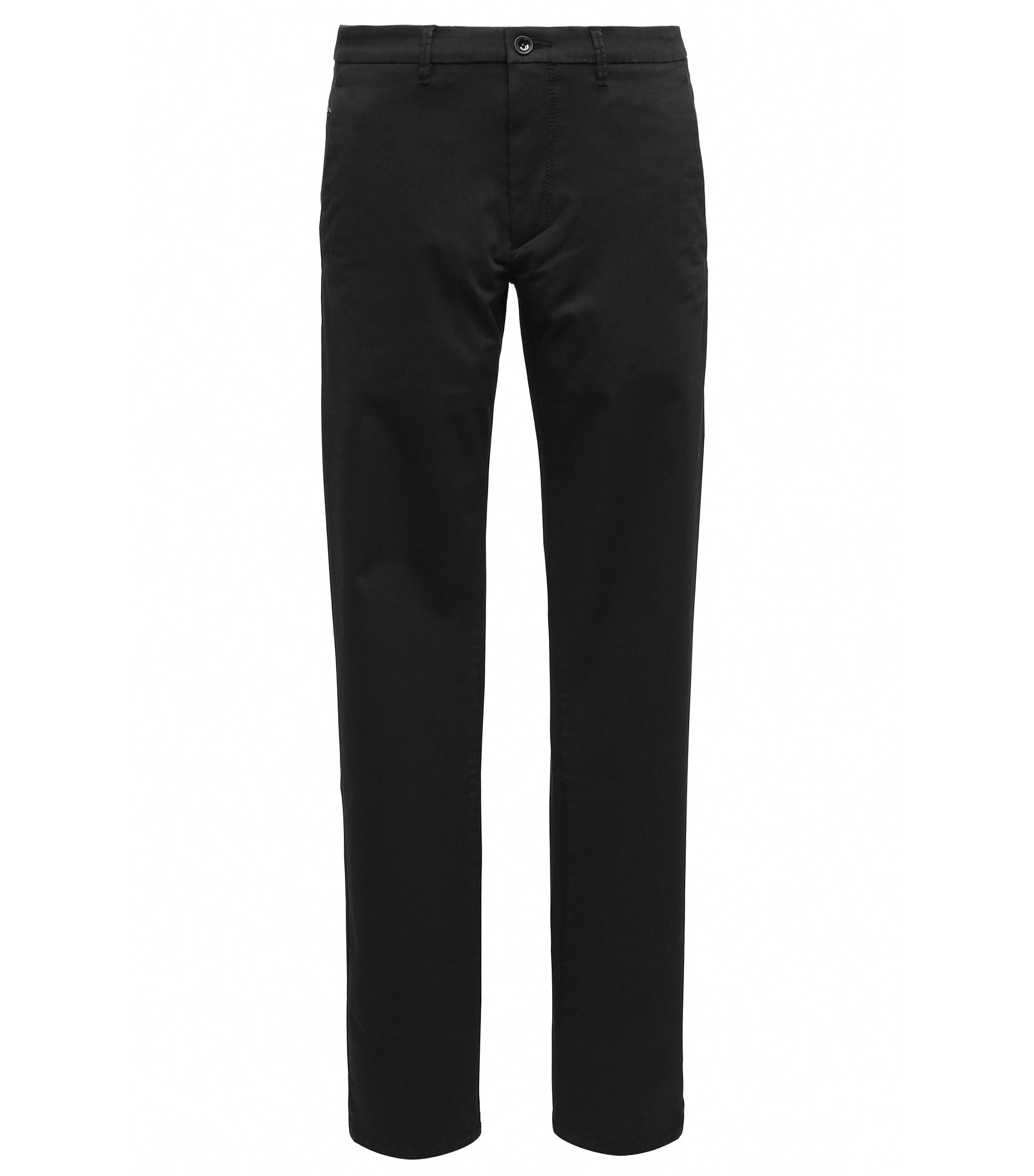 Slim-fit chino van een katoenmix met stretch en satijn-finish, Zwart