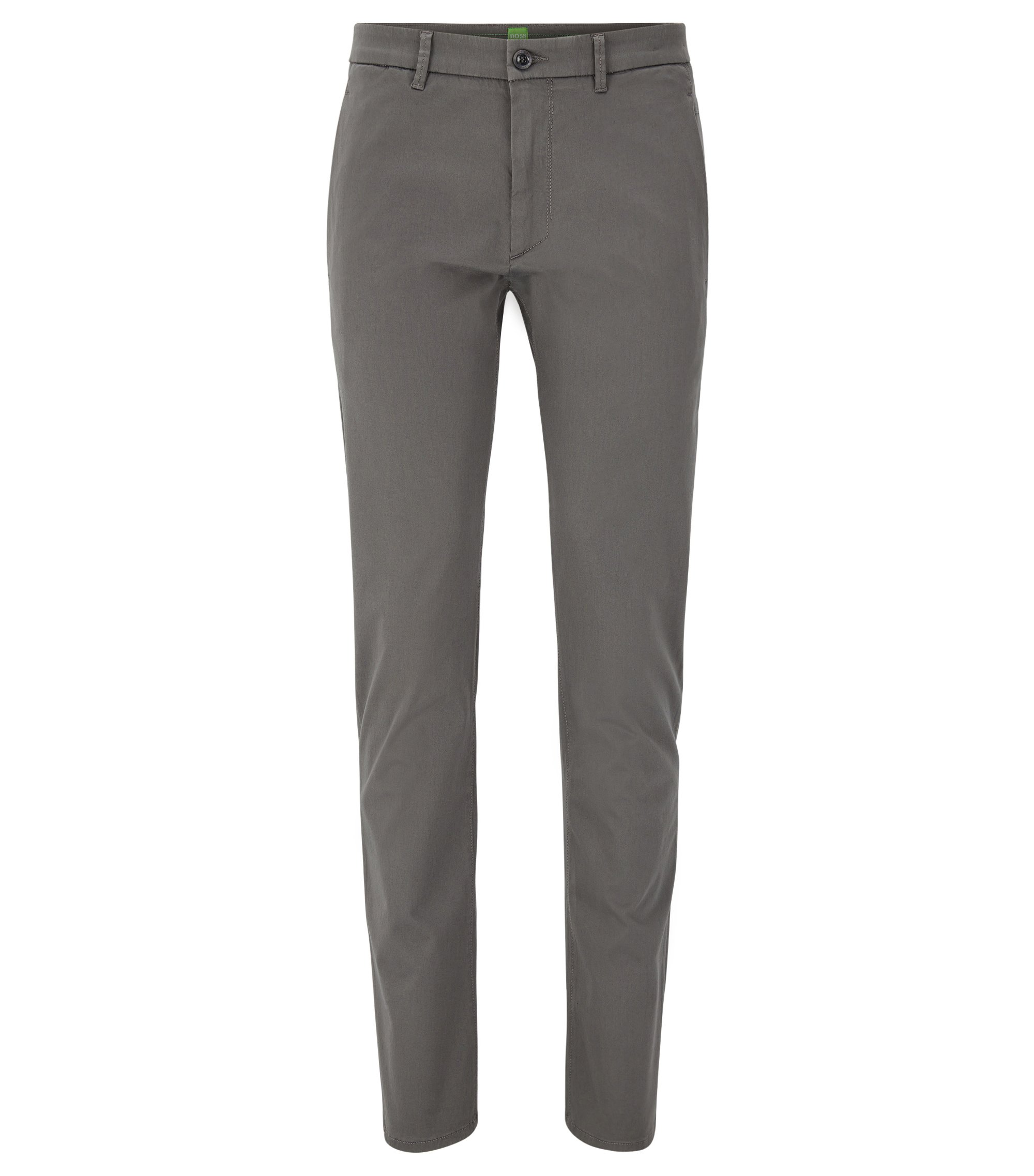 Slim-fit chinos in stretch-cotton blend with satin finish, Grey