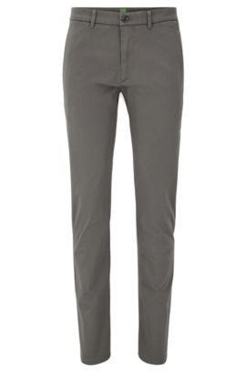 Chino Slim Fit en coton mélangé stretch à la finition satinée, Gris