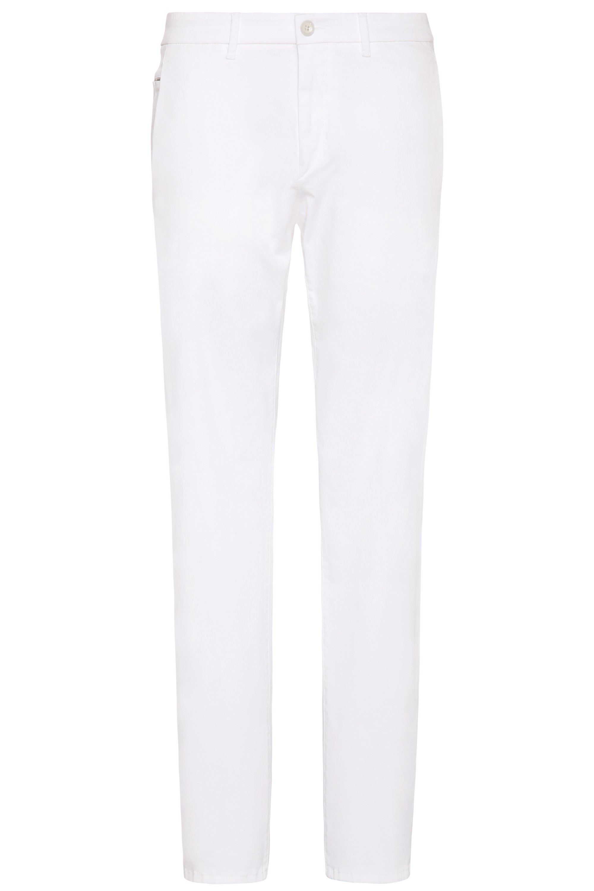 Slim-fit chinos in stretch-cotton blend with satin finish, White