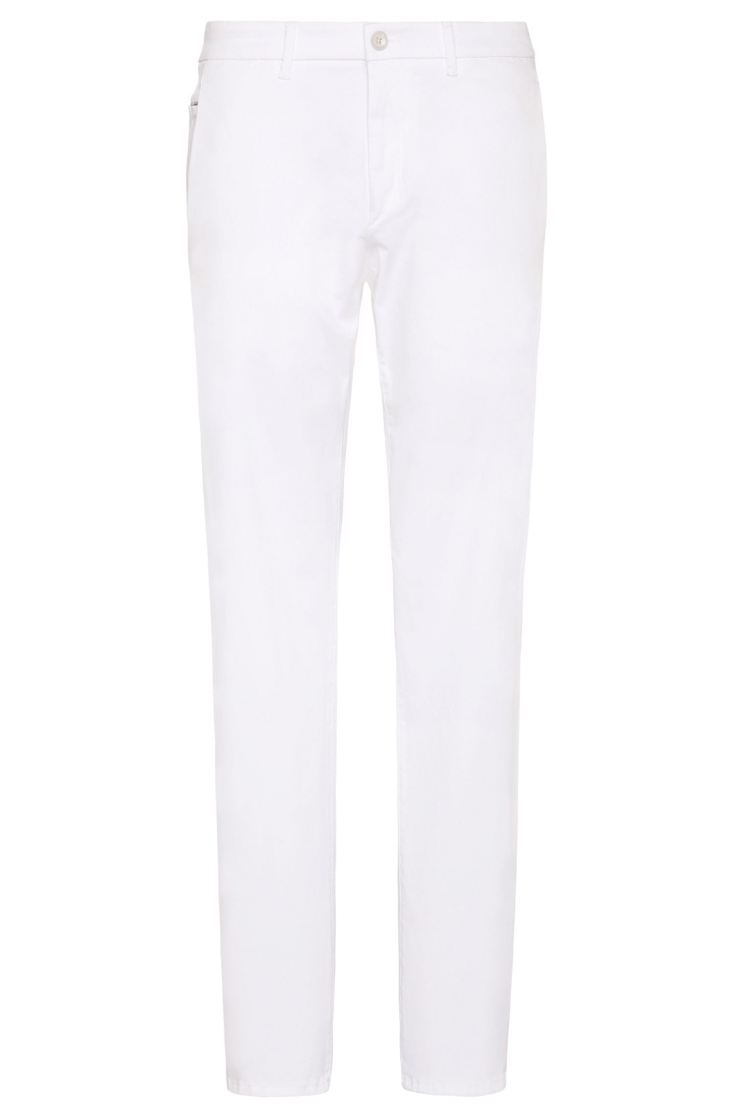 Slim-fit chinos in stretch-cotton blend with satin finish