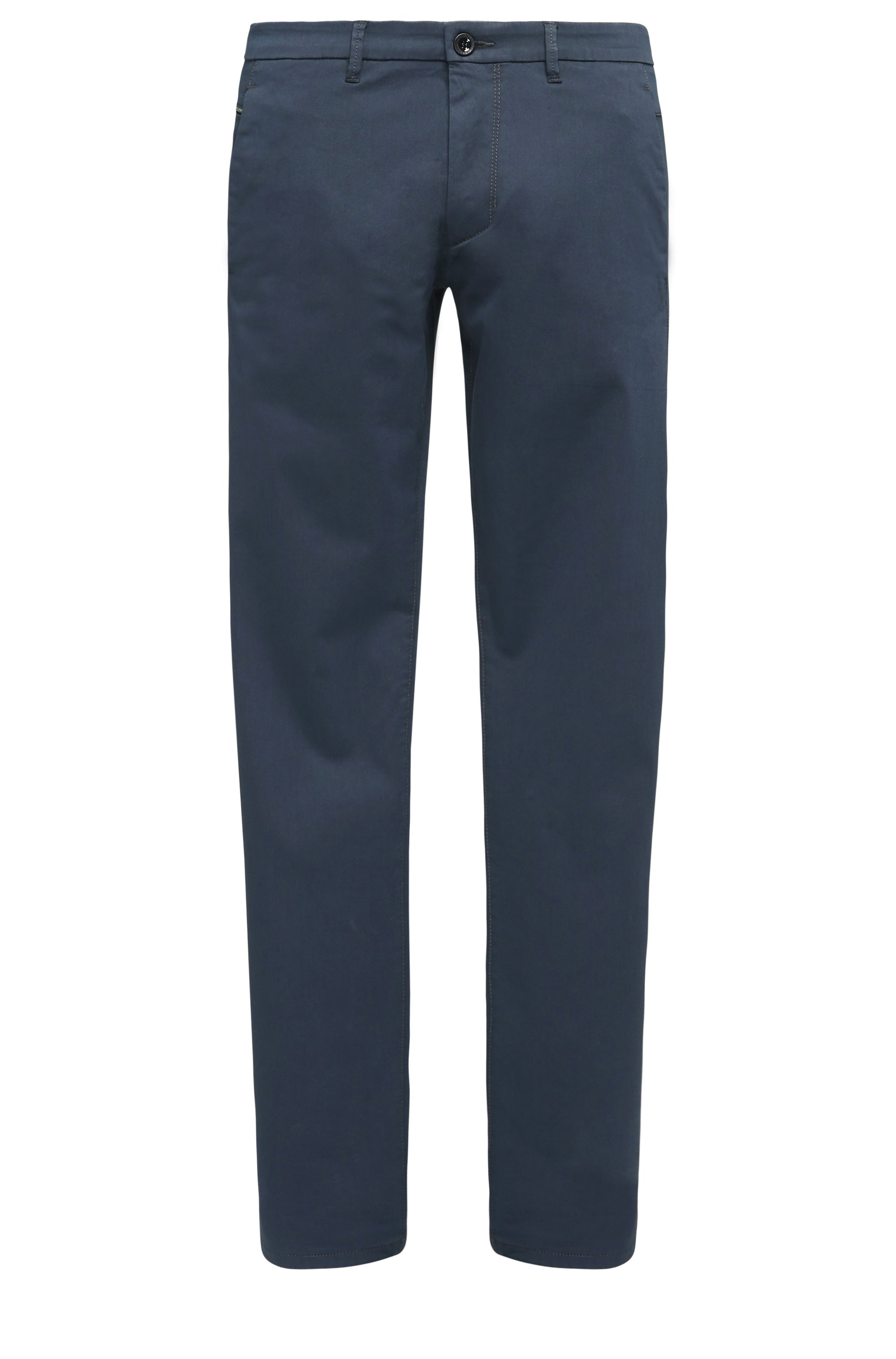 Slim-Fit Chino aus Stretch-Baumwolle mit Satin-Finish, Dunkelblau