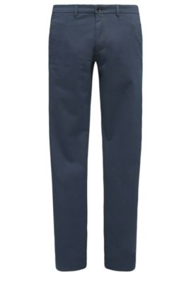 Slim-fit chinos in stretch-cotton blend with satin finish, Dark Blue