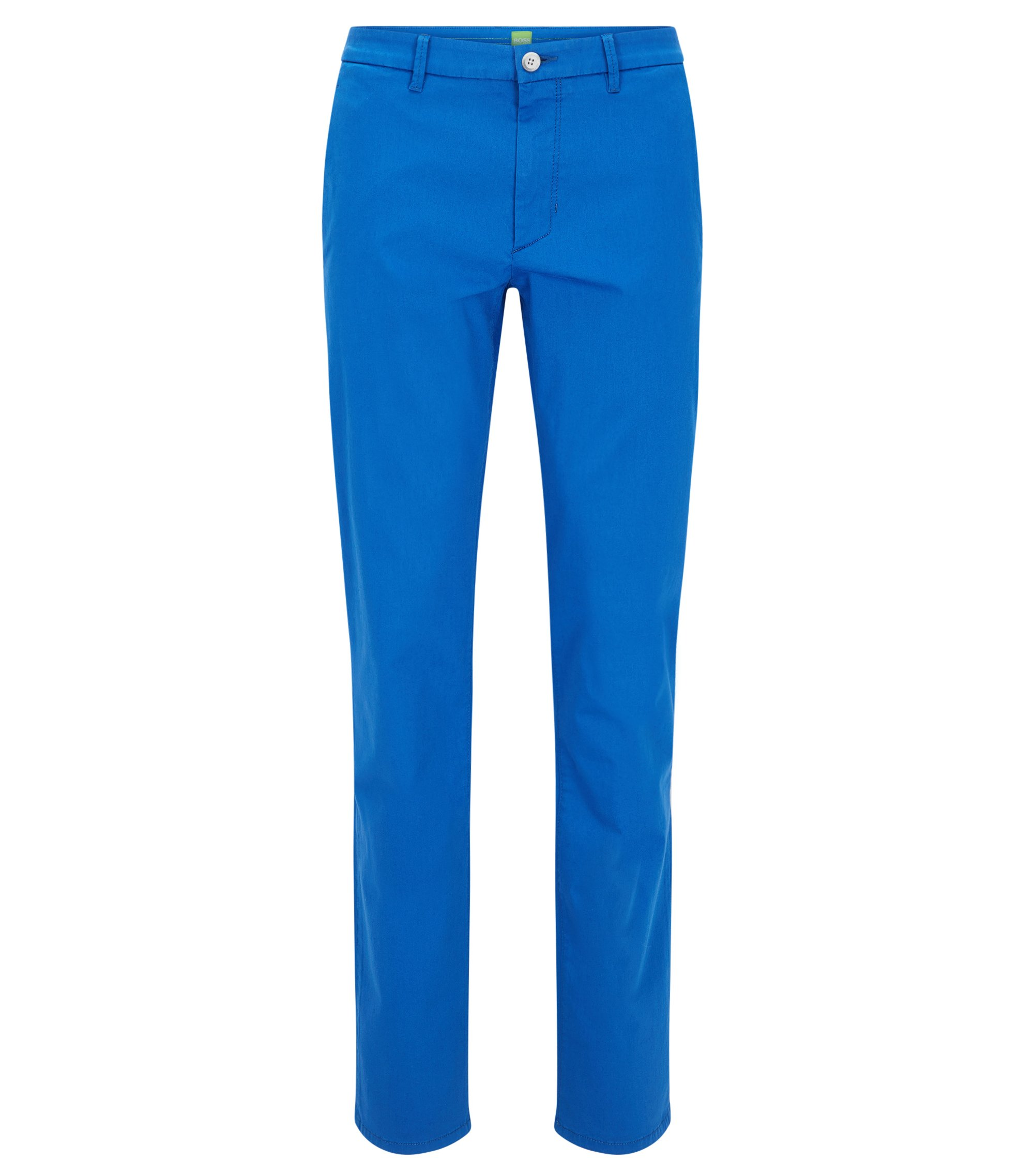 Chino Slim Fit en coton mélangé stretch à la finition satinée, Bleu