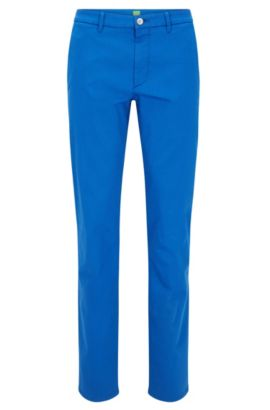 Slim-fit chinos in stretch-cotton blend with satin finish, Blue