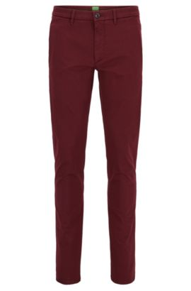 Chino Slim Fit en coton mélangé stretch à la finition satinée, Rouge sombre