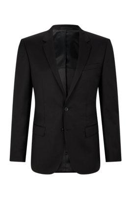 Veste Slim Fit en sergé de laine vierge à surpiqûres AMF, Noir