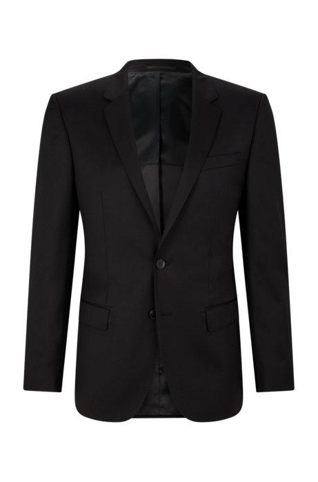 Slim-fit jacket in virgin-wool serge with AMF stitching, Black
