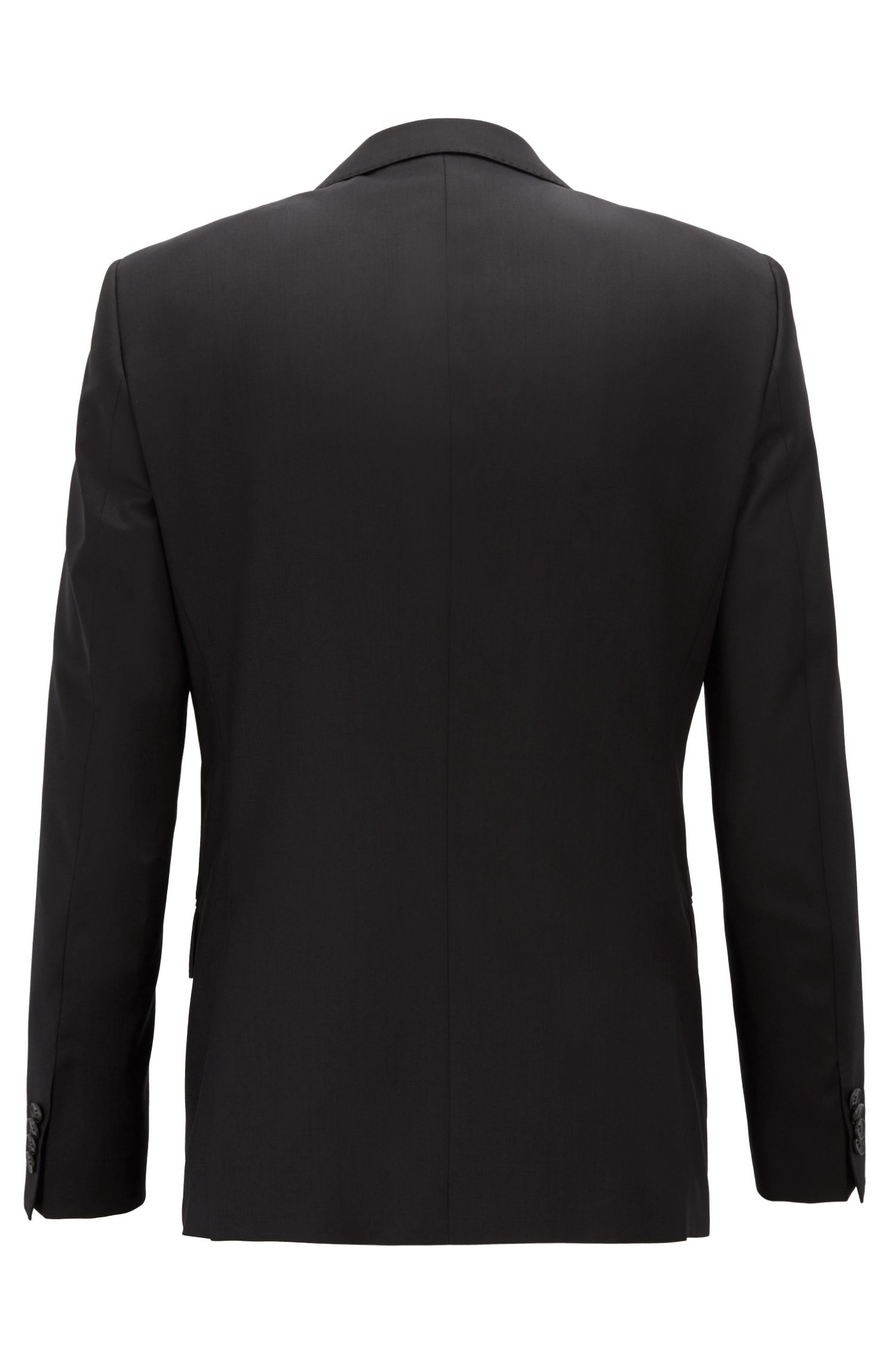 Slim-fit jacket in virgin wool, Black