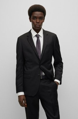 Slim-fit jacket in virgin-wool serge with AMF stitching, Black