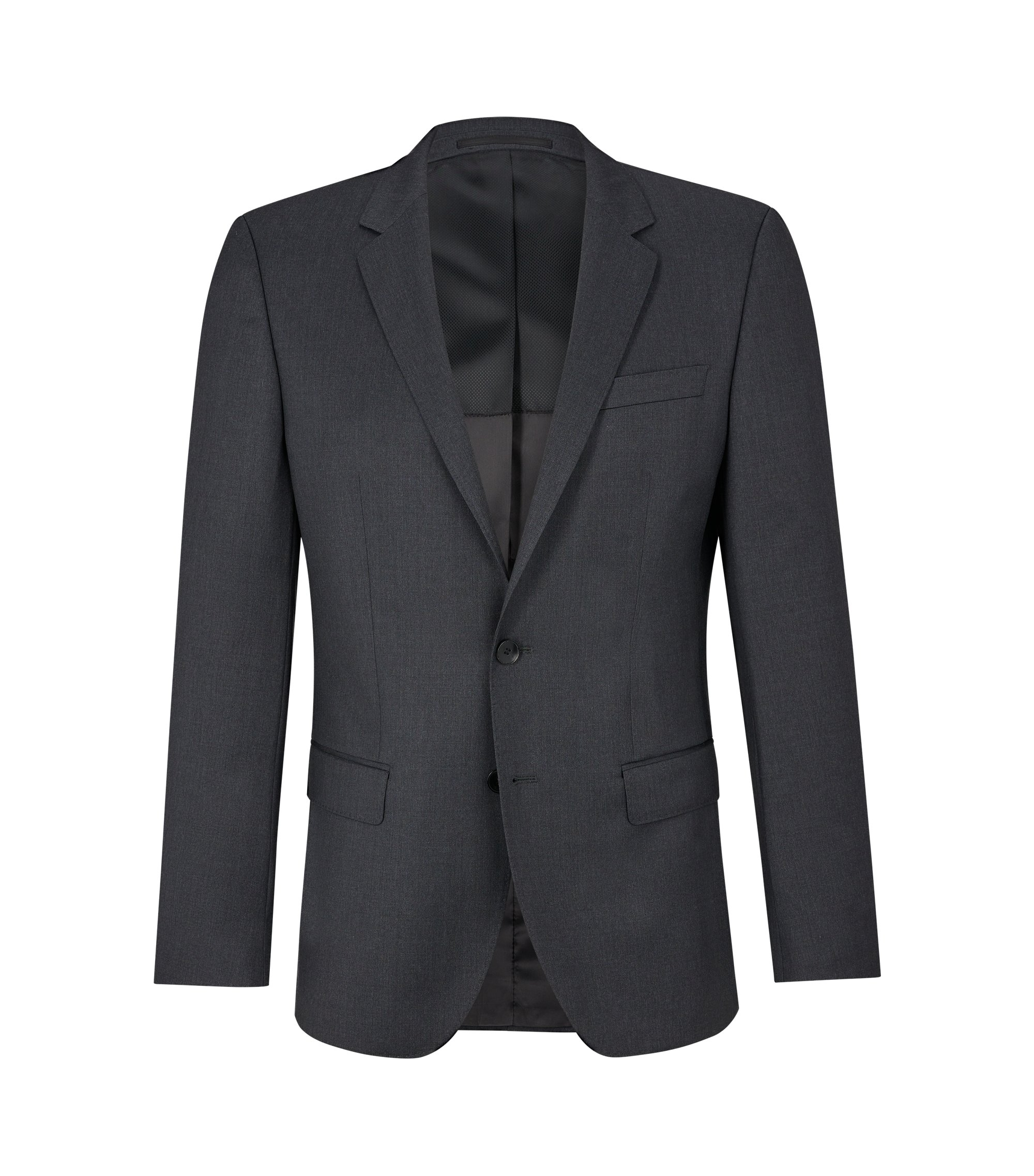 Slim-fit jacket in virgin wool, Dark Grey